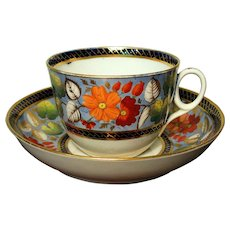 Circa 1815 Hand Painted English Newhall Cup and Saucer