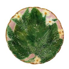 Holdcroft Fern Leaf and Flower Majolica Plate, Circa 1880