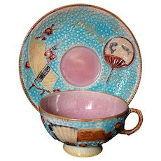 1880 English Fielding Majolica Fan and Scroll Cup and Saucer