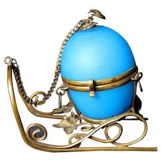 Antique French Blue Opaline Glass Egg Jewel Trinket Box on Ormolu Sled