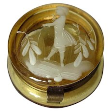Antique Mary Gregory Yellow Art Glass Patch Pill box