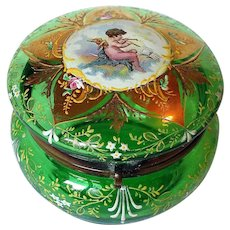 Antique Art Glass Jewelry Trinket Box Angel with Flute Enamel and Gold