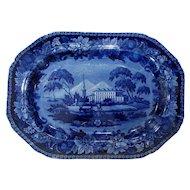 Dark Blue Historical Staffordshire Transferware Platter American Villa