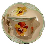 Early Rosenthal Art Nouveau Cup and Saucer Gorgeous Pansies Circa 1900