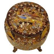 Antique Bohemian Moser Art Glass Jewelry Casket Box Enameled Bird and Blossoms