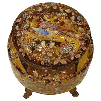 Antique Bohemian Moser Art Glass Jewelry Casket Box Enameled Bird and Blossoms