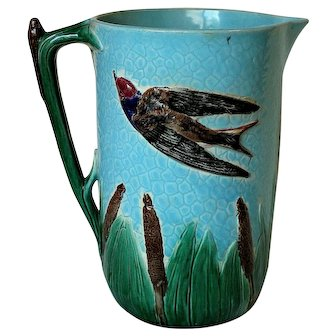 Large English Holdcroft Bird and Reed Majolica Pitcher Jug