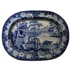 Staffordshire Blue Transfer Ware Platter with Cows The Philosopher Circa 1820