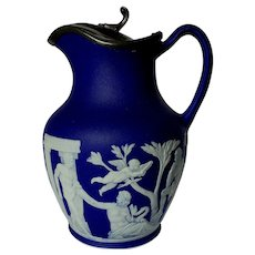 Dark Blue 19th Century Wedgwood Jasperware Portland Jug Pitcher