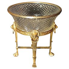 Antique French Baccarat Napoleon III Gilt Bronze and Crystal Centerpiece Lion Stand Bowl