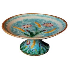 English Fielding Bow Floral and Wheat Majolica Pedestal Cake Stand Compote