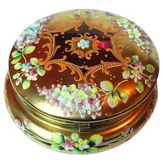 Striking Bohemian Art Glass Gold and Cranberry Trinket Jewelry box with Applied Flowers