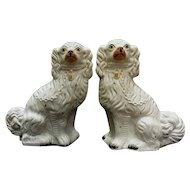 Large Pair of Circa 1860 Staffordshire King Charles Spaniel Mantle Dogs