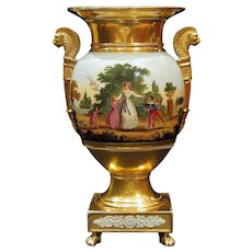 Fine 19th Century Hand Painted French Old Paris Empire Urn Vase