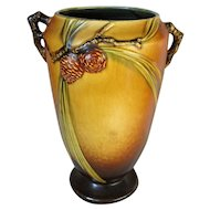 Tall Roseville Pottery Brown Pinecone Vase 709-10