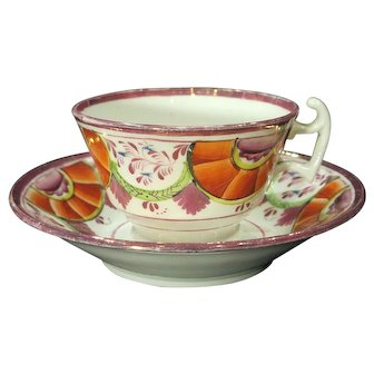 Circa 1820 Hand Painted Pink Luster Cup and Saucer