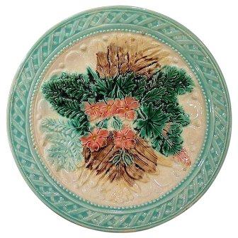 Antique Majolica Fern Leaf and Flower Plate with Basket Weave Border
