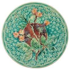 Antique Majolica Blackberry Basket Weave Plate