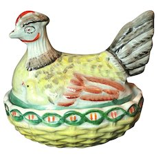 19th Century Hand Painted Staffordshire Hen on Nest with Chicks