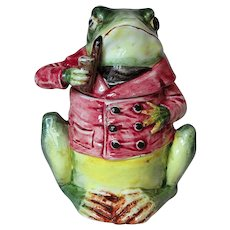 Antique Figural Majolica Humidor Frog with Pipe and Red Coat