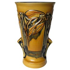Tall Roseville Laurel Yellow and Black 1934 Art Deco Vase