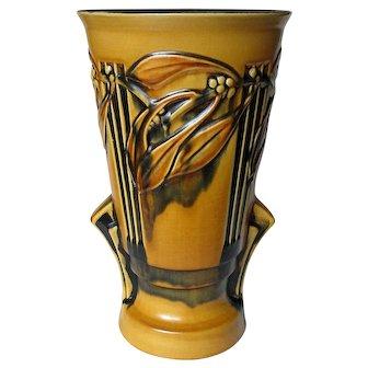Tall Roseville Laurel Yellow and Black 1934 Art Deco Vase