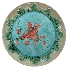 Circa 1890 Majolica Plate with Two Parrots