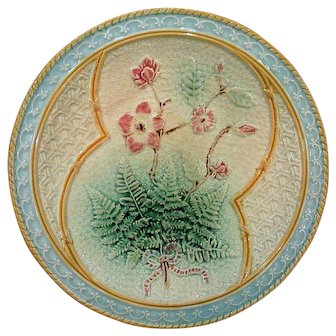 Antique Majolica Fern Ribbon and Floral Plate