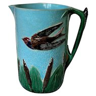 Large English Holdcroft Bird and Cattail Majolica Pitcher Jug