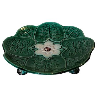 English Holdcroft Majolica Pond Lily Cake Stand Compote with Heron Feet