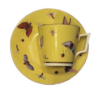 1850 Derby Yellow Ground Demitasse Cup and Saucer with Hand Painted Butterflies
