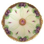Antique Haviland Limoges Violets and Gold Charger Plate Artist Signed