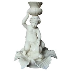 Irish Belleek Figural Putto Cherub on Dolphin Candlestick