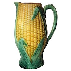 Large 19th. Century Majolica Figural Corn Pitcher Jug