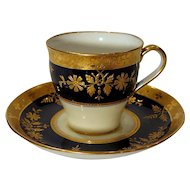 8 Antique Tiffany by Minton Cobalt and Gold Encrusted Demitasse Cups and Saucers