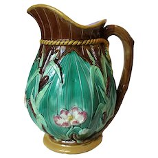 George Jones Majolica Cattail and Water Lily Jug Pitcher