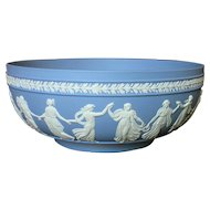 Gorgeous Large Wedgwood Blue Jasperware The Dancing Hours Bowl Mint Condition