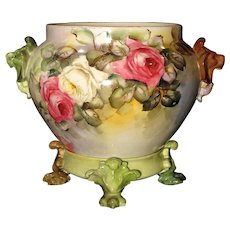 Antique Limoges Jardiniere with Stand Hand Painted Roses Lion Handles Signed