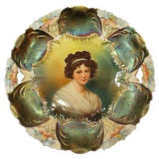 Outstanding RS Prussia Lebrun Portrait Lily Mold Cake Plate Iridescent Tiffany Peacock Finish