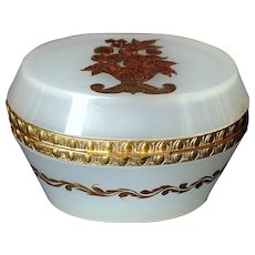 Hand Painted French Opaline Glass Casket Box Ormolu Mounts