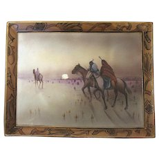 Rare Nippon Plaque Hand Painted Native American Indians on Horseback
