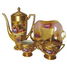 Pickard Deserted Garden Coffee Set Coffee Pot Creamer Sugar Bowl Cake Tray