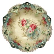 RS Prussia Footed Bowl Roses Jeweling Clover and Gold