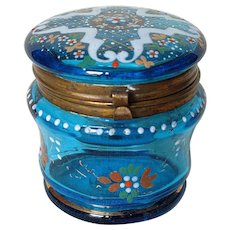 Antique Bohemian Blue Glass Trinket Jewelry Box with Enamel and Gold