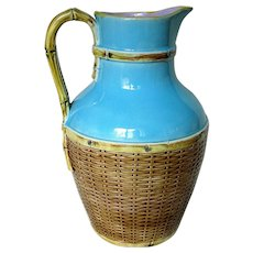 George Jones Majolica Basket Weave Design Jug Pitcher