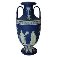 Large 19th Century Wedgwood Jasperware Bolted Throphy Muses Vase Mint Condition