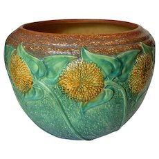 Large 1930's Roseville Art Pottery Sunflower Jardiniere