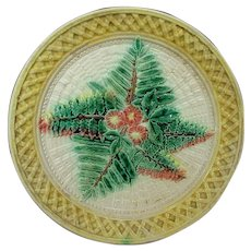 Antique Majolica Fern Leaf and Floral Plate