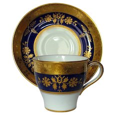 Antique Minton for Tiffany Cobalt and Gold Encrusted Demitasse Cup and Saucer