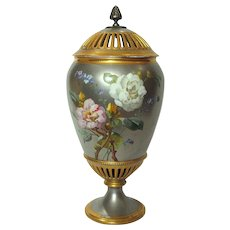 Circa 1860 Paris Porcelain Potpourri Urn Vase Platinum and Gold Hand Painted Roses